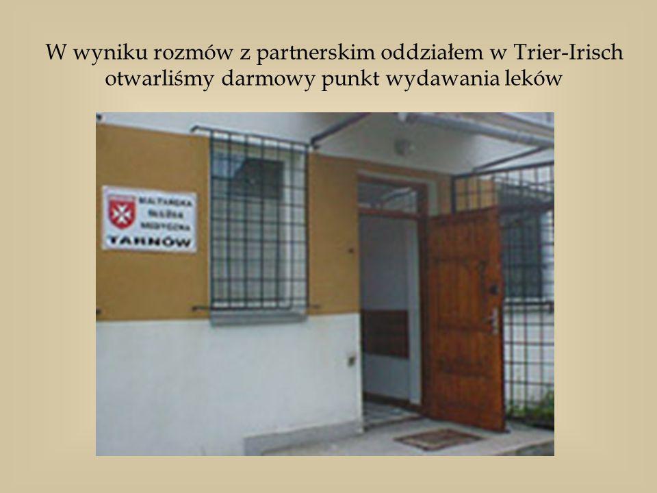 W wyniku rozmów z partnerskim oddziałem w Trier-Irisch otwarliśmy darmowy punkt wydawania leków