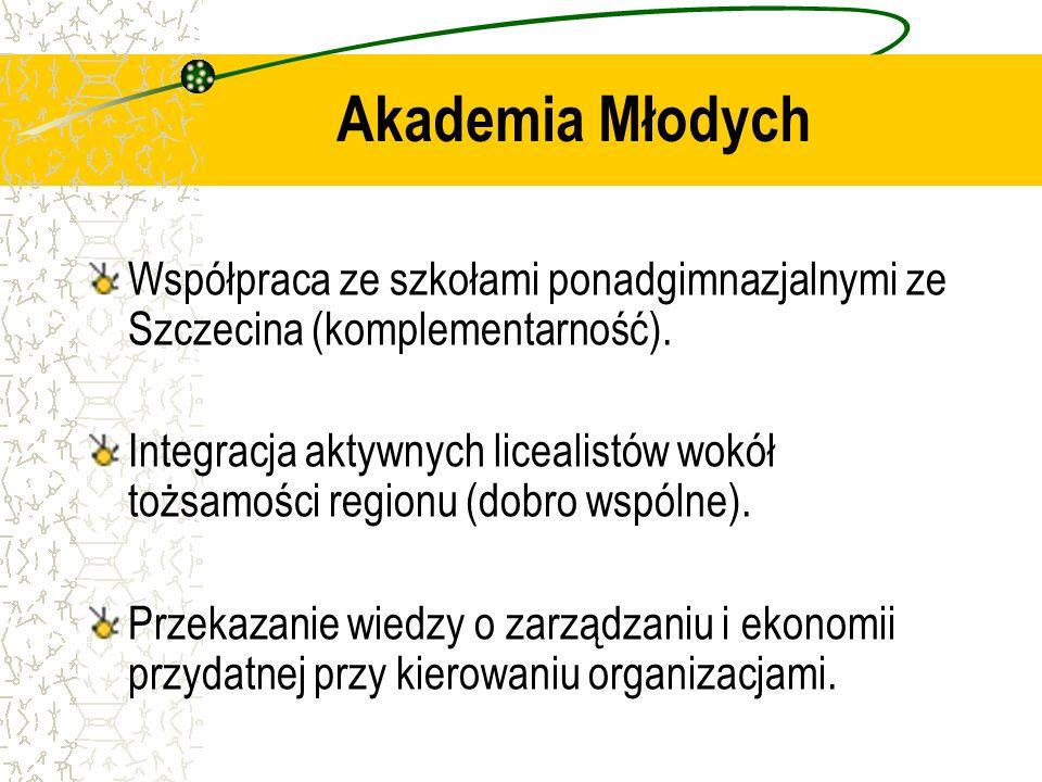 Akademia MłodychWspółpraca ze szkołami ponadgimnazjalnymi ze Szczecina (komplementarność).