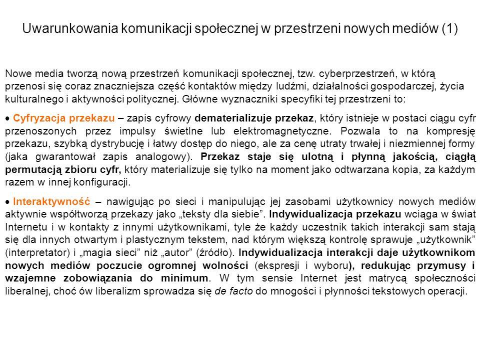 Uwarunkowania komunikacji społecznej w przestrzeni nowych mediów (1)