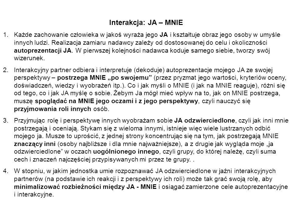 Interakcja: JA – MNIE