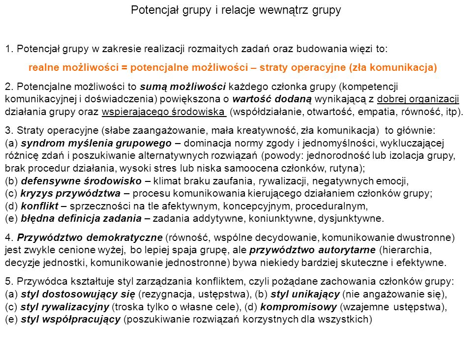 Potencjał grupy i relacje wewnątrz grupy