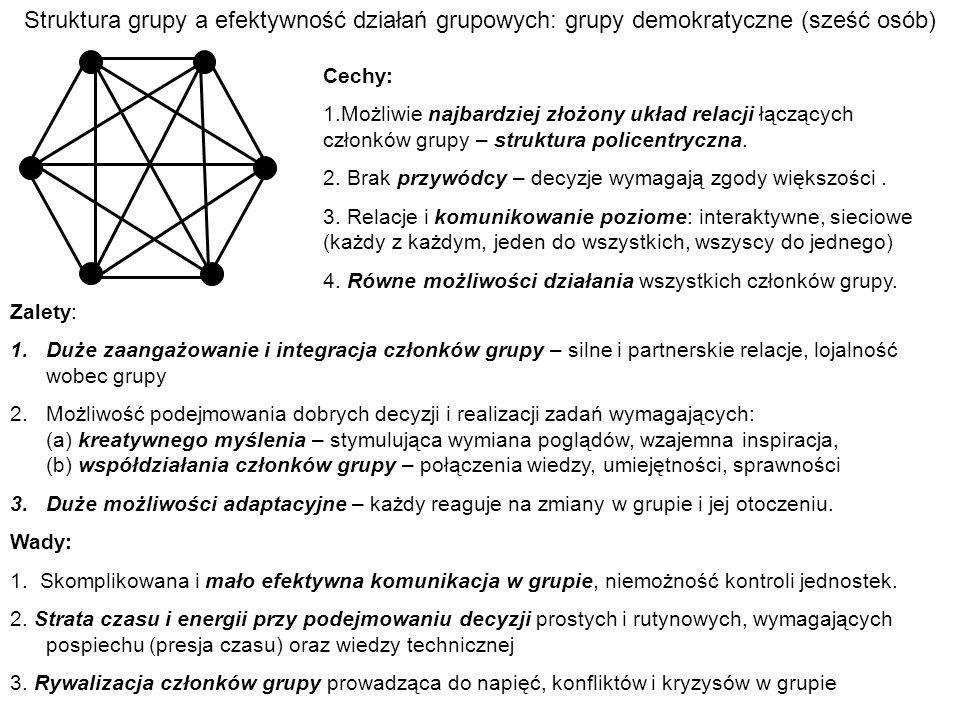 Struktura grupy a efektywność działań grupowych: grupy demokratyczne (sześć osób)