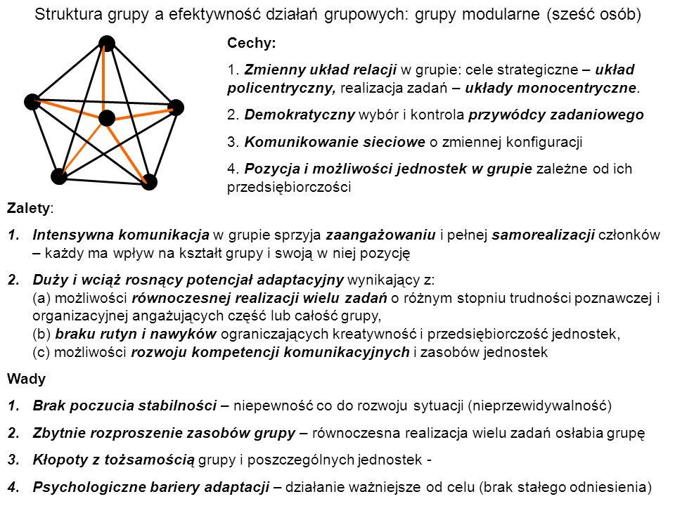 Struktura grupy a efektywność działań grupowych: grupy modularne (sześć osób)
