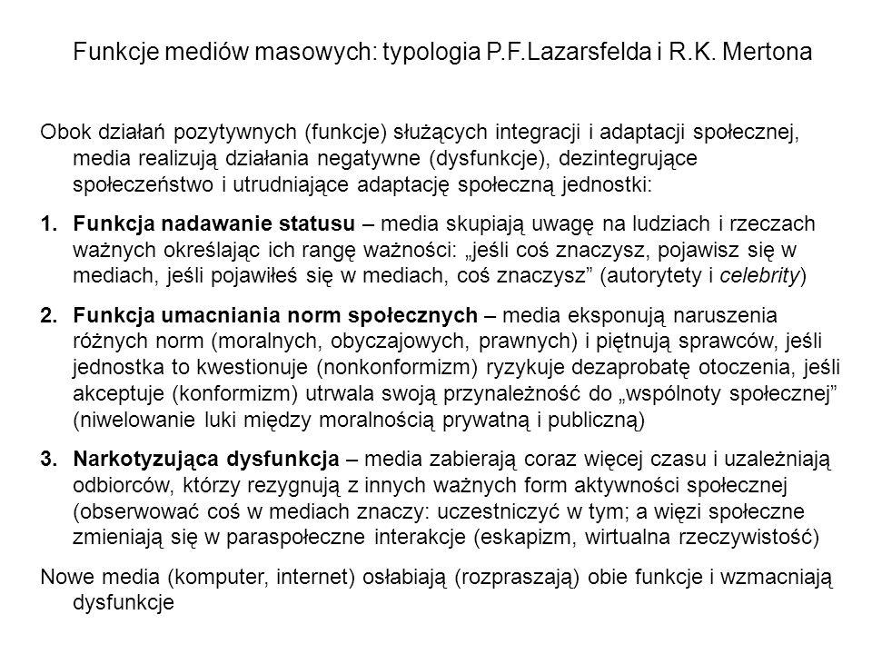 Funkcje mediów masowych: typologia P.F.Lazarsfelda i R.K. Mertona