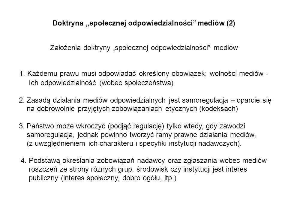 """Doktryna """"społecznej odpowiedzialności mediów (2)"""