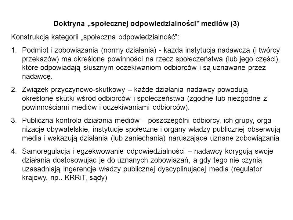 """Doktryna """"społecznej odpowiedzialności mediów (3)"""