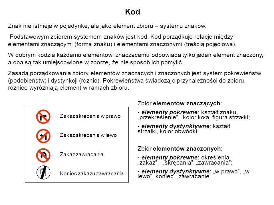 Kod Znak nie istnieje w pojedynkę, ale jako element zbioru – systemu znaków.