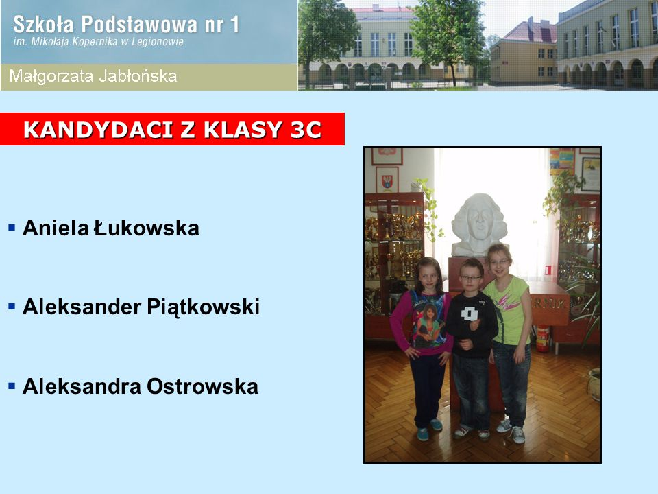 KANDYDACI Z KLASY 3C Aniela Łukowska Aleksander Piątkowski Aleksandra Ostrowska