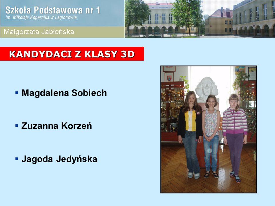 KANDYDACI Z KLASY 3D Magdalena Sobiech Zuzanna Korzeń Jagoda Jedyńska