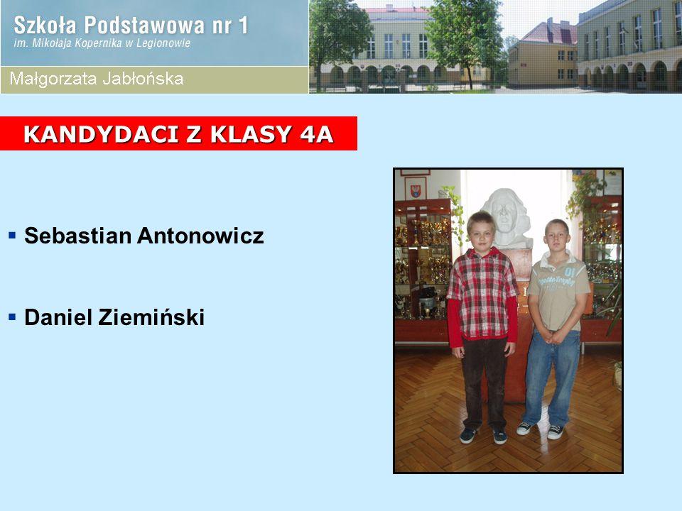 KANDYDACI Z KLASY 4A Sebastian Antonowicz Daniel Ziemiński