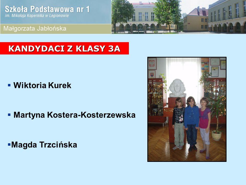 KANDYDACI Z KLASY 3A Wiktoria Kurek Martyna Kostera-Kosterzewska Magda Trzcińska