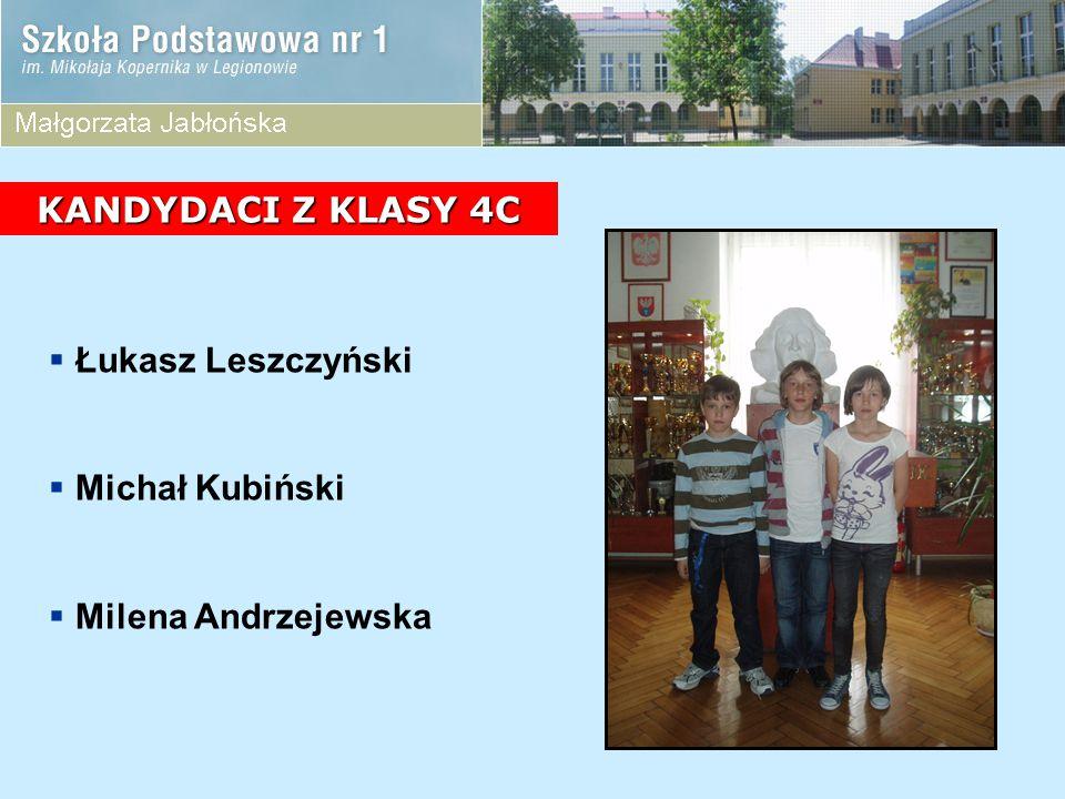 KANDYDACI Z KLASY 4C Łukasz Leszczyński Michał Kubiński Milena Andrzejewska
