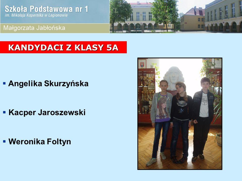 KANDYDACI Z KLASY 5A Angelika Skurzyńska Kacper Jaroszewski Weronika Foltyn
