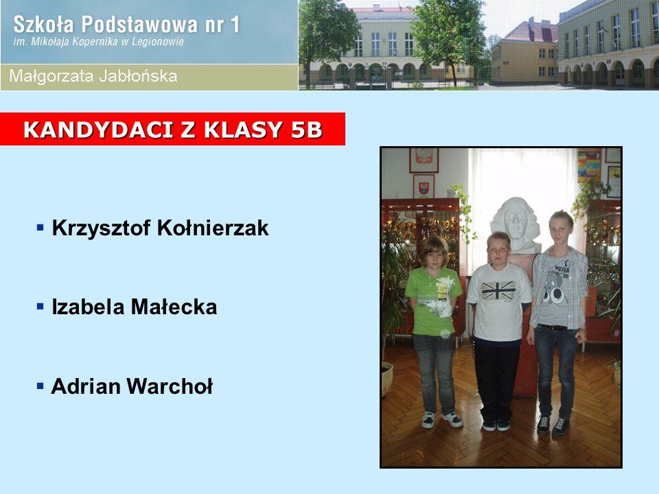 KANDYDACI Z KLASY 5B Krzysztof Kołnierzak Izabela Małecka Adrian Warchoł