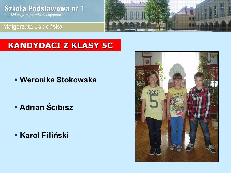 KANDYDACI Z KLASY 5C Weronika Stokowska Adrian Ścibisz Karol Filiński