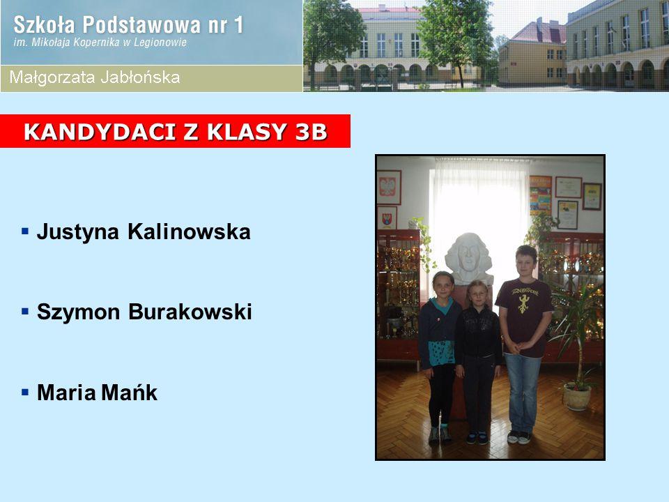 KANDYDACI Z KLASY 3B Justyna Kalinowska Szymon Burakowski Maria Mańk