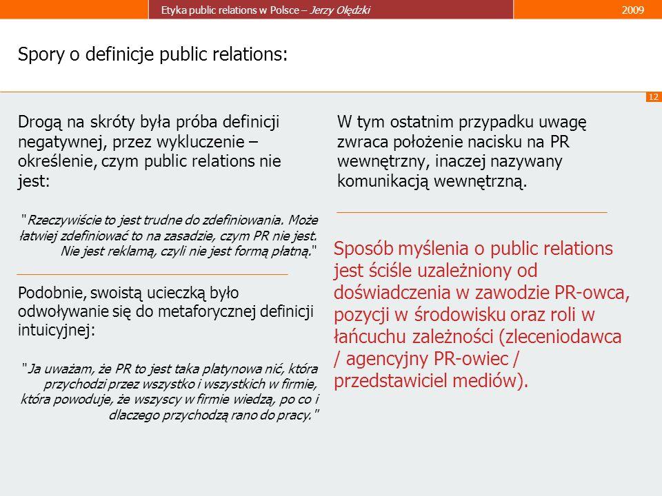 Spory o definicje public relations: