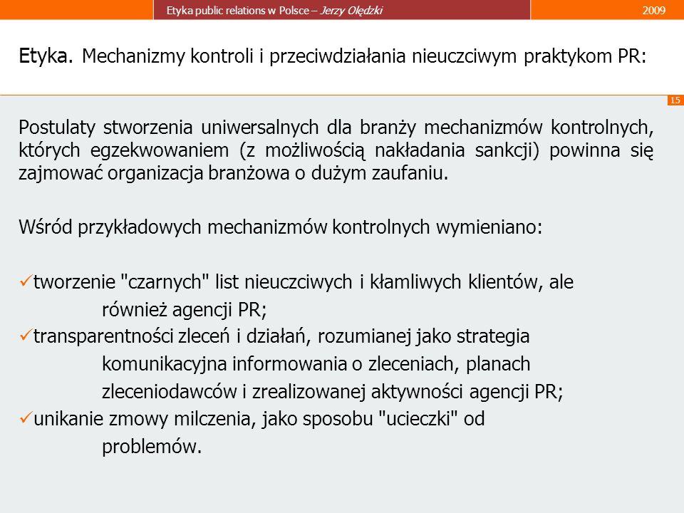 Etyka. Mechanizmy kontroli i przeciwdziałania nieuczciwym praktykom PR: