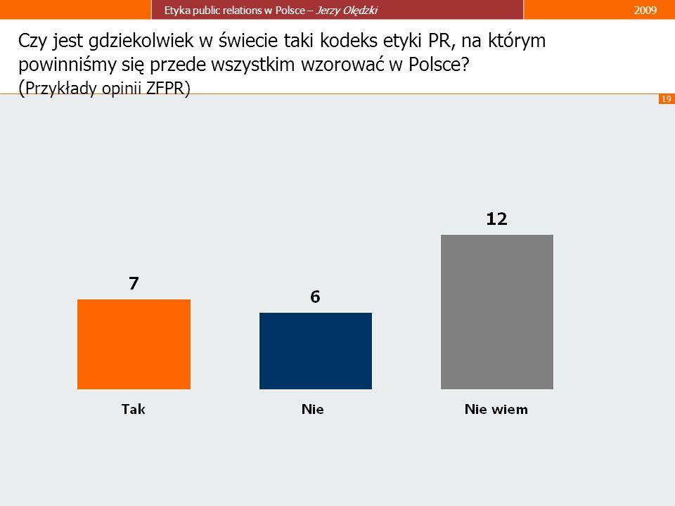 Czy jest gdziekolwiek w świecie taki kodeks etyki PR, na którym powinniśmy się przede wszystkim wzorować w Polsce.