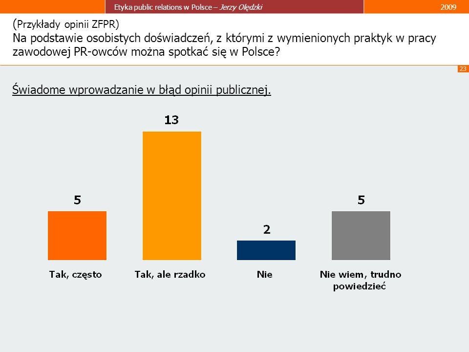 (Przykłady opinii ZFPR) Na podstawie osobistych doświadczeń, z którymi z wymienionych praktyk w pracy zawodowej PR-owców można spotkać się w Polsce