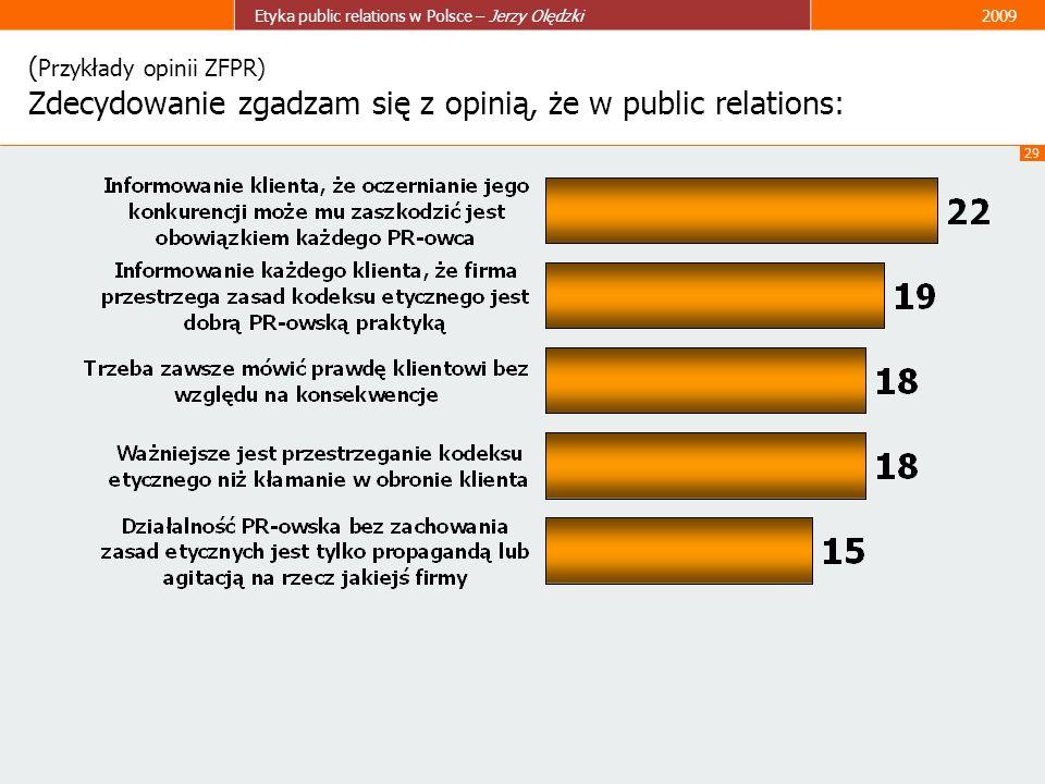 (Przykłady opinii ZFPR) Zdecydowanie zgadzam się z opinią, że w public relations: