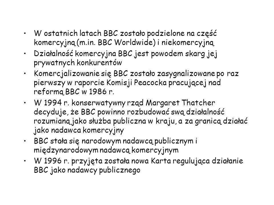 W ostatnich latach BBC zostało podzielone na część komercyjną (m. in