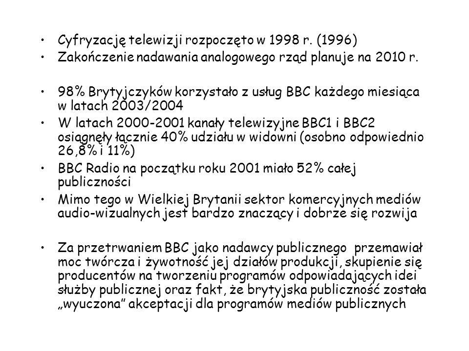 Cyfryzację telewizji rozpoczęto w 1998 r. (1996)