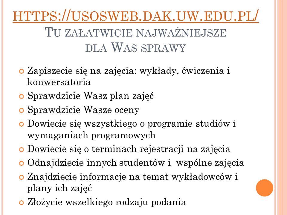 https://usosweb. dak. uw. edu