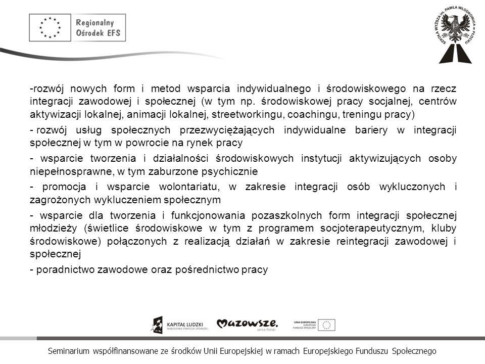 rozwój nowych form i metod wsparcia indywidualnego i środowiskowego na rzecz integracji zawodowej i społecznej (w tym np. środowiskowej pracy socjalnej, centrów aktywizacji lokalnej, animacji lokalnej, streetworkingu, coachingu, treningu pracy)
