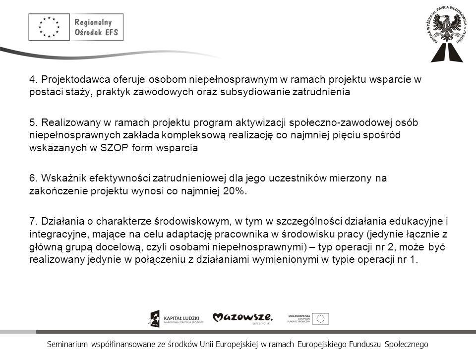 4. Projektodawca oferuje osobom niepełnosprawnym w ramach projektu wsparcie w postaci staży, praktyk zawodowych oraz subsydiowanie zatrudnienia