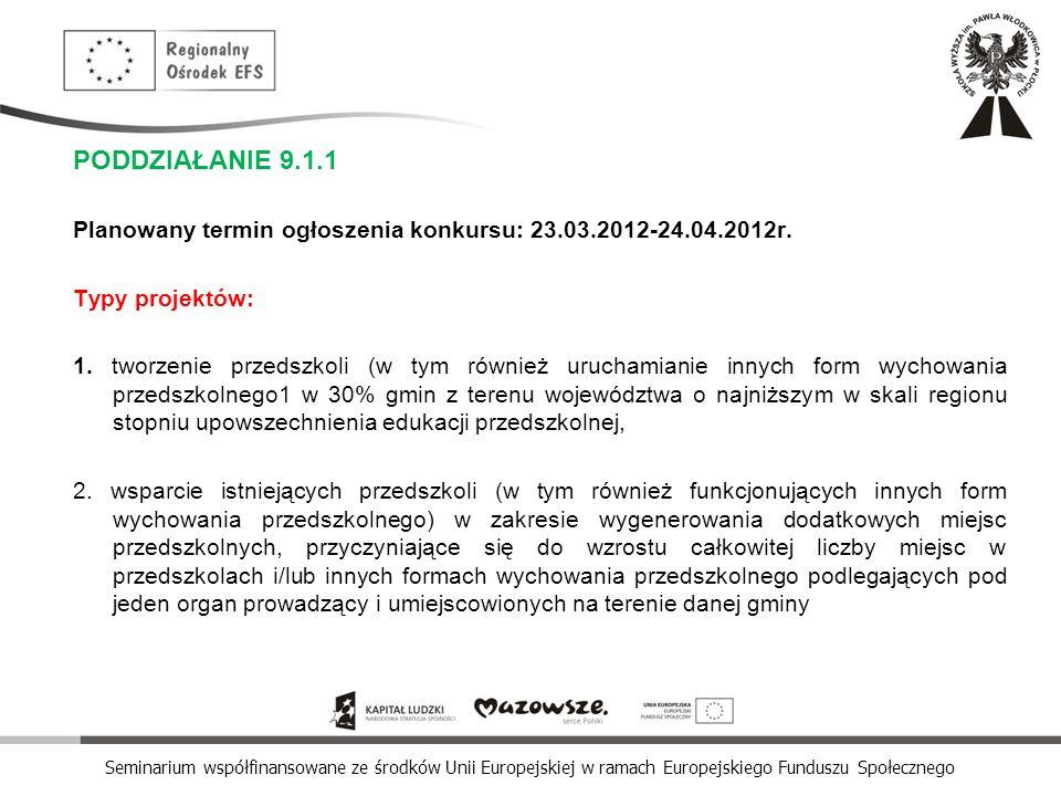 PODDZIAŁANIE 9.1.1 Planowany termin ogłoszenia konkursu: 23.03.2012-24.04.2012r. Typy projektów: