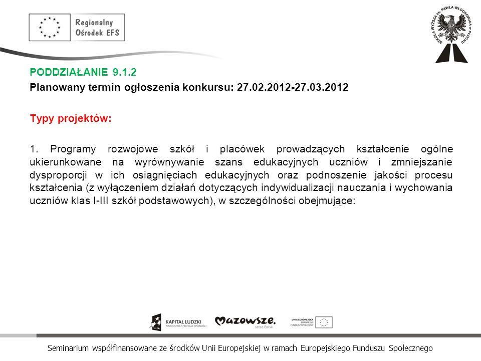 PODDZIAŁANIE 9.1.2 Planowany termin ogłoszenia konkursu: 27.02.2012-27.03.2012. Typy projektów: