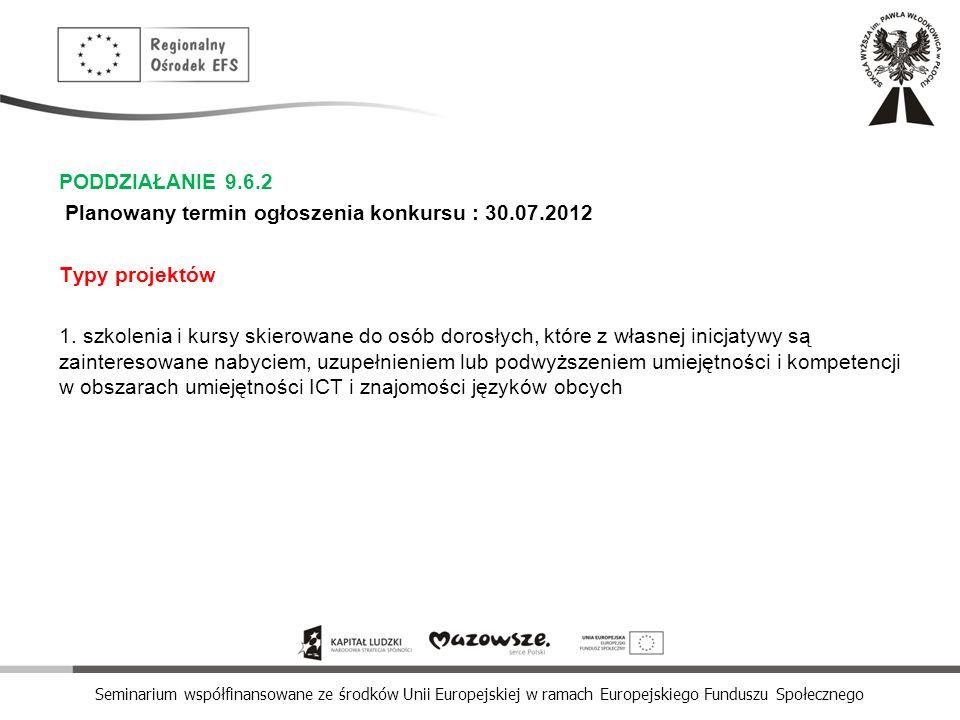 PODDZIAŁANIE 9. 6. 2 Planowany termin ogłoszenia konkursu : 30. 07
