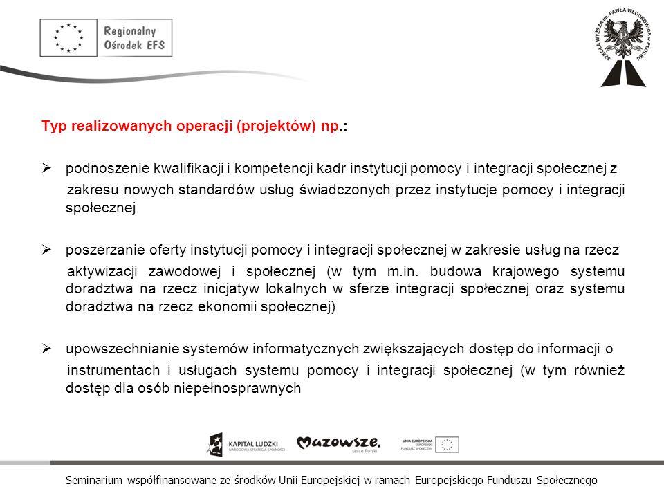 Typ realizowanych operacji (projektów) np.: