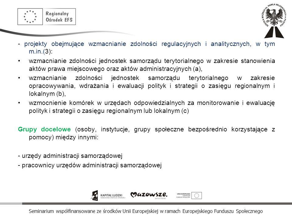 - projekty obejmujące wzmacnianie zdolności regulacyjnych i analitycznych, w tym m.in.(3):