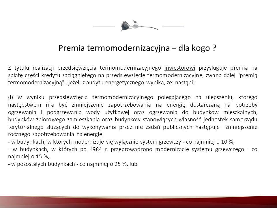 Premia termomodernizacyjna – dla kogo