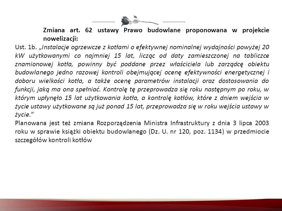 Zmiana art. 62 ustawy Prawo budowlane proponowana w projekcie nowelizacji: