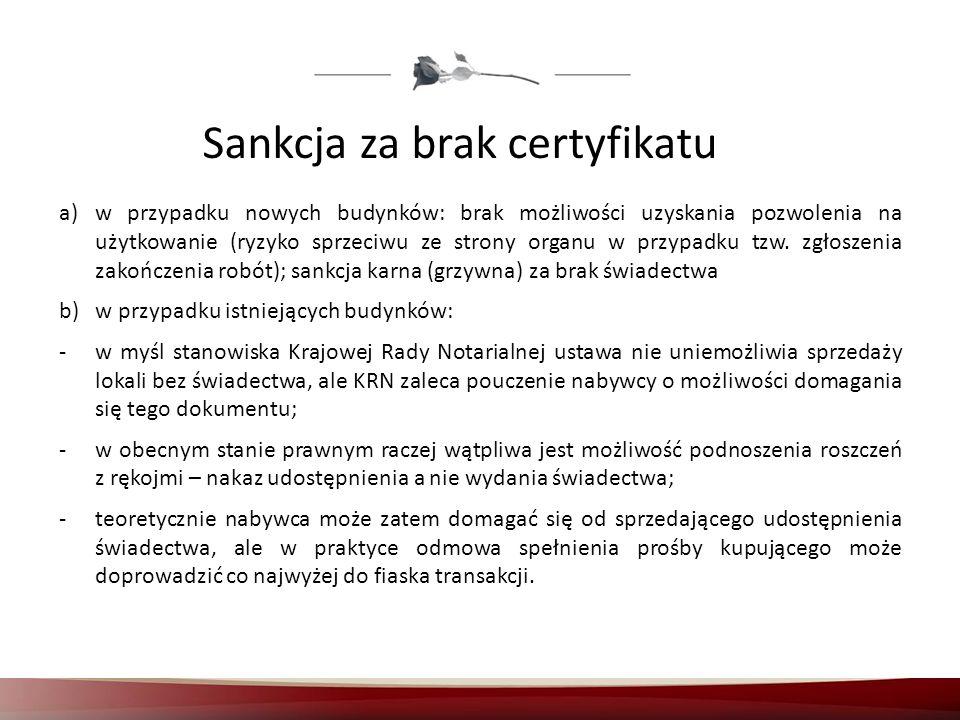 Sankcja za brak certyfikatu