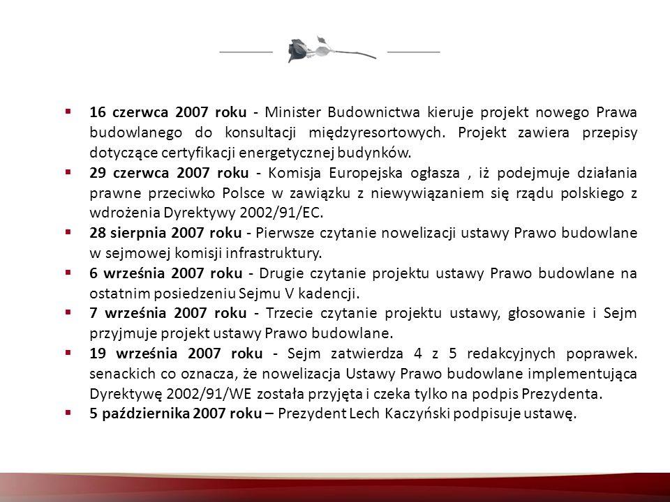 16 czerwca 2007 roku - Minister Budownictwa kieruje projekt nowego Prawa budowlanego do konsultacji międzyresortowych. Projekt zawiera przepisy dotyczące certyfikacji energetycznej budynków.
