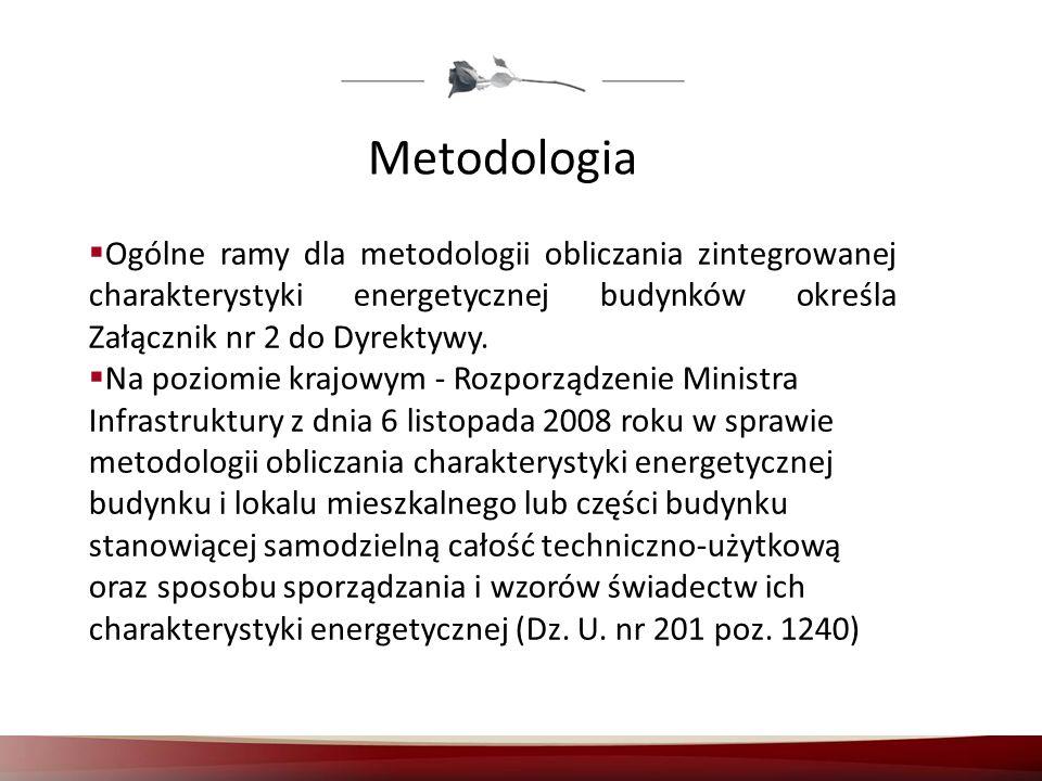 Metodologia Ogólne ramy dla metodologii obliczania zintegrowanej charakterystyki energetycznej budynków określa Załącznik nr 2 do Dyrektywy.