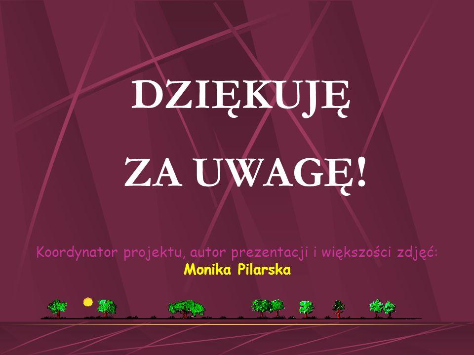 DZIĘKUJĘ ZA UWAGĘ! Koordynator projektu, autor prezentacji i większości zdjęć: Monika Pilarska