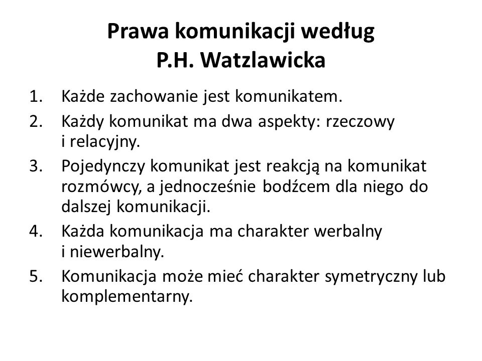 Prawa komunikacji według P.H. Watzlawicka