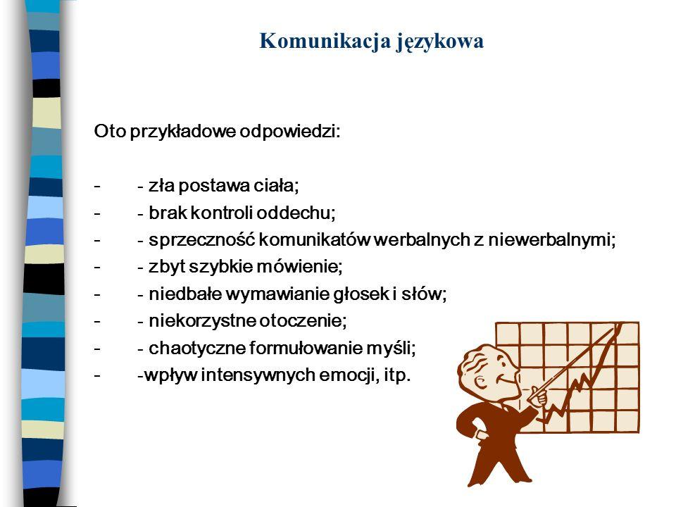 Komunikacja językowa Oto przykładowe odpowiedzi: