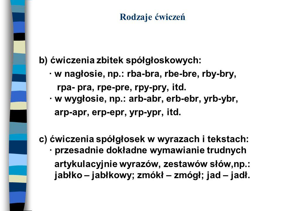 Rodzaje ćwiczeńb) ćwiczenia zbitek spółgłoskowych: · w nagłosie, np.: rba-bra, rbe-bre, rby-bry,