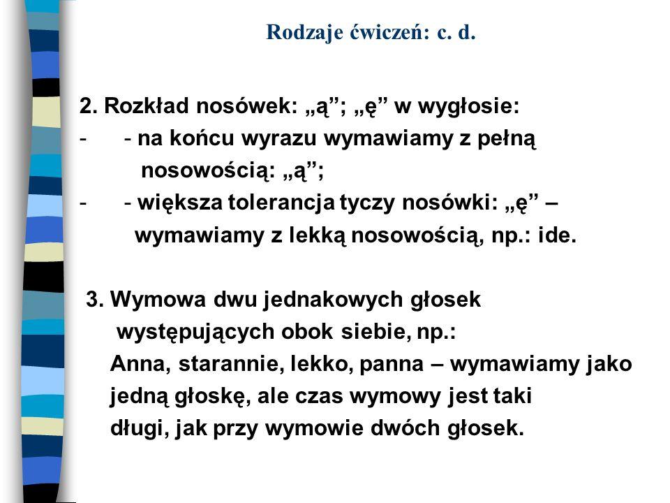 """Rodzaje ćwiczeń: c. d.2. Rozkład nosówek: """"ą ; """"ę w wygłosie: - - na końcu wyrazu wymawiamy z pełną."""