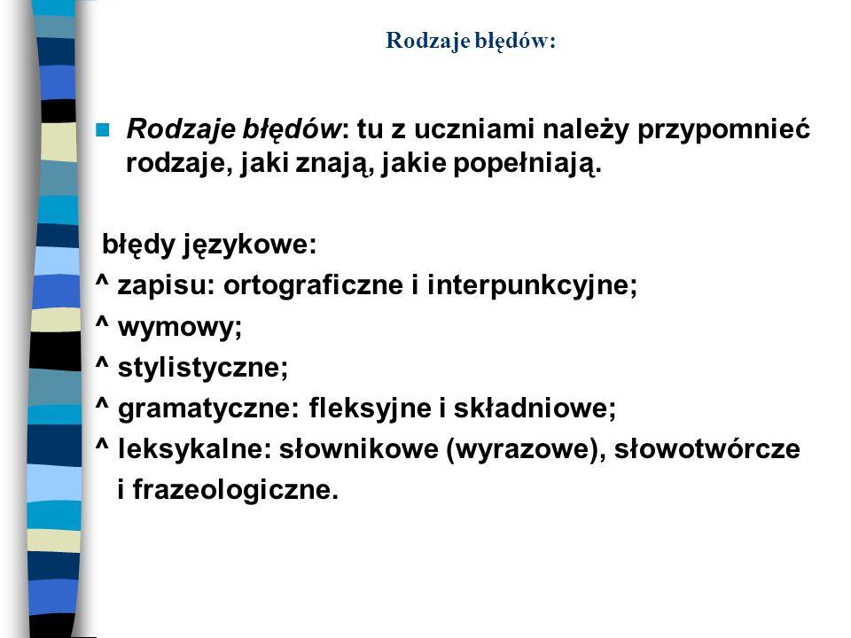 ^ zapisu: ortograficzne i interpunkcyjne; ^ wymowy; ^ stylistyczne;