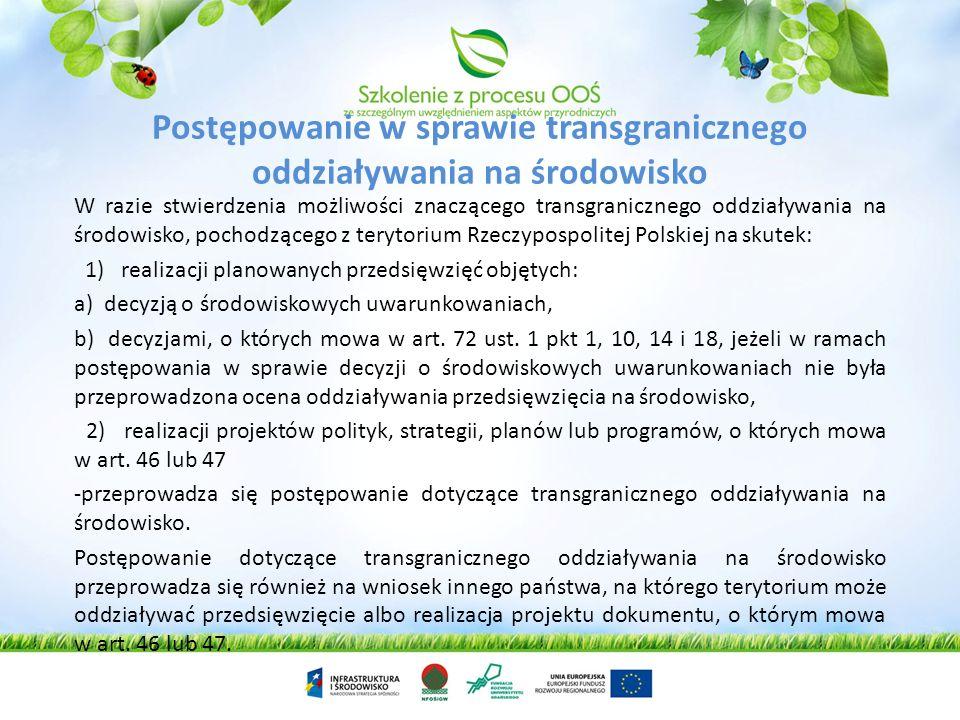 Postępowanie w sprawie transgranicznego oddziaływania na środowisko