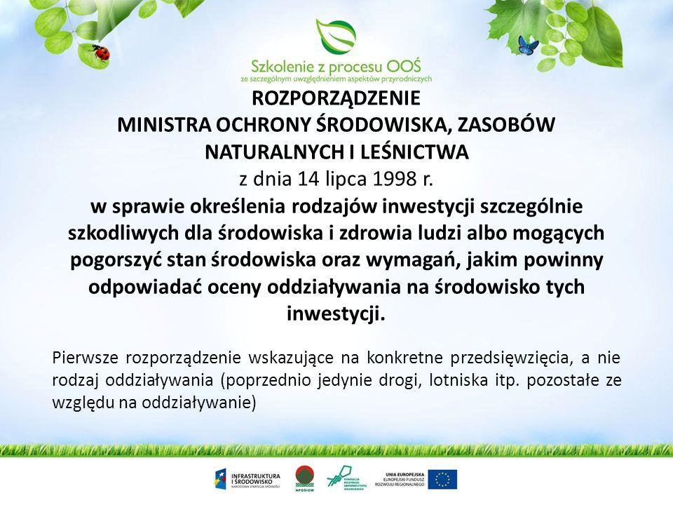 ROZPORZĄDZENIE MINISTRA OCHRONY ŚRODOWISKA, ZASOBÓW NATURALNYCH I LEŚNICTWA z dnia 14 lipca 1998 r. w sprawie określenia rodzajów inwestycji szczególnie szkodliwych dla środowiska i zdrowia ludzi albo mogących pogorszyć stan środowiska oraz wymagań, jakim powinny odpowiadać oceny oddziaływania na środowisko tych inwestycji.