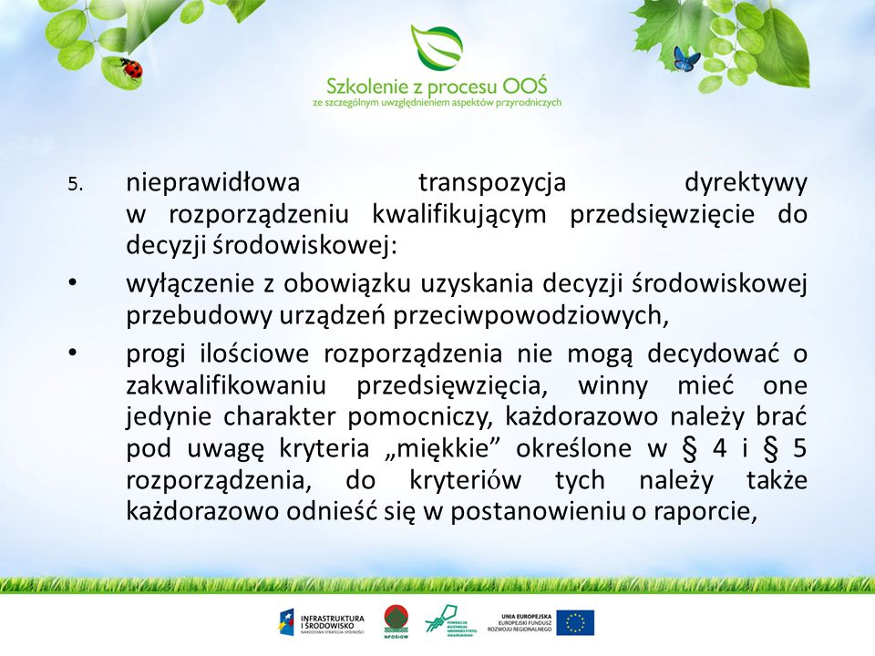 nieprawidłowa transpozycja dyrektywy w rozporządzeniu kwalifikującym przedsięwzięcie do decyzji środowiskowej: