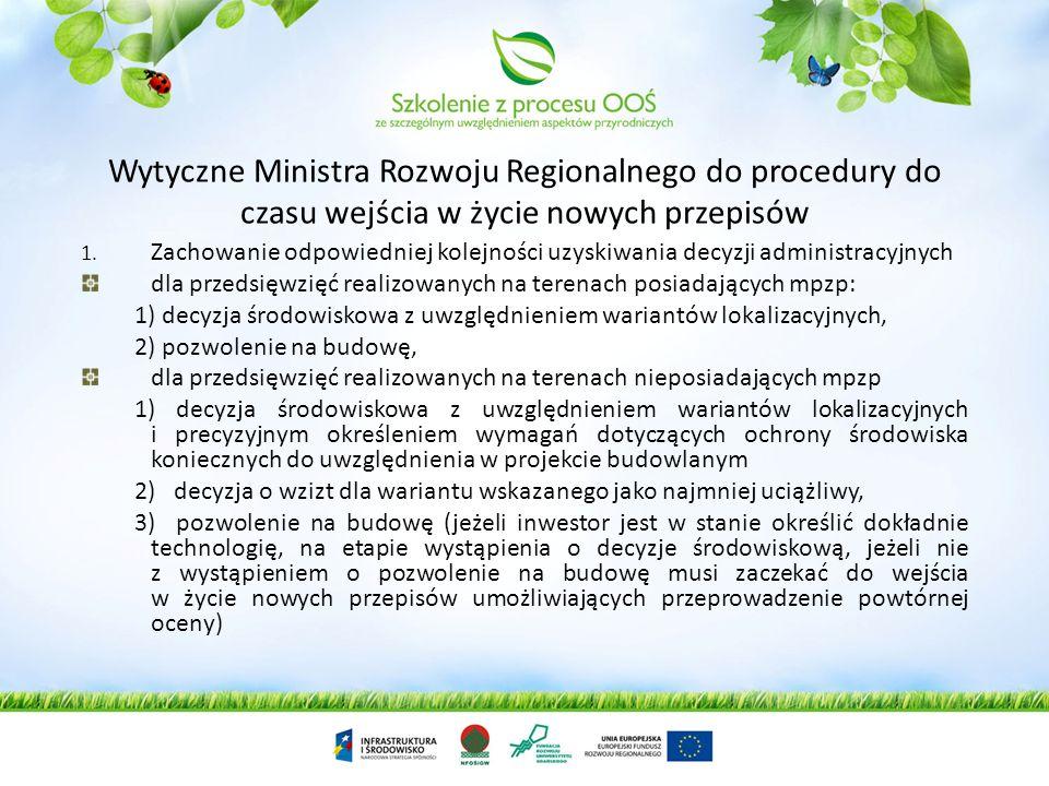 Wytyczne Ministra Rozwoju Regionalnego do procedury do czasu wejścia w życie nowych przepisów